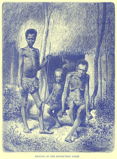 Natives of the South-West Coast. Illustration from Illustrated Travels edited by H W Bates (Cassell, c 1880).