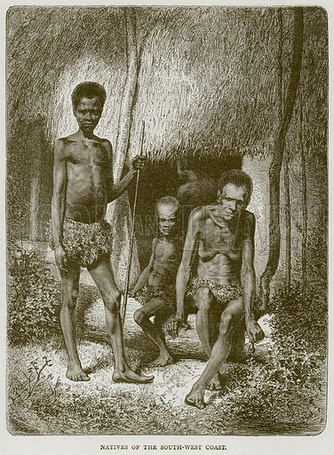 Natives of the South-West Coast. Illustration from Illustrated Travels edited by HW Bates (Cassell, c 1880).