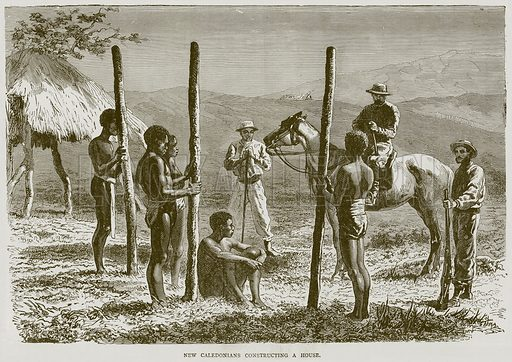 New Caledonians Constructing a House. Illustration from Illustrated Travels edited by H W Bates (Cassell, c 1880).