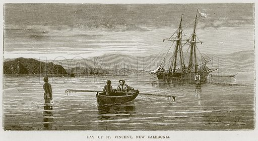 Bay of St. Vincent, New Caledonia. Illustration from Illustrated Travels edited by H W Bates (Cassell, c 1880).