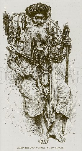 Aged Hindoo Votary at Hurdwar. Illustration from Illustrated Travels edited by H W Bates (Cassell, c 1880).