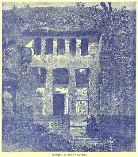 Principal Cavern of Kanheri. Illustration from Illustrated Travels edited by H W Bates (Cassell, c 1880).
