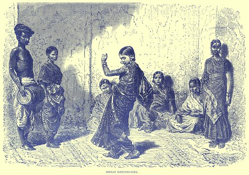 Indian Dancing-Girl. Illustration from Illustrated Travels edited by H W Bates (Cassell, c 1880).