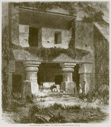 Sculptured Entrance to One of the Kanheri Caves. Illustration from Illustrated Travels edited by HW Bates (Cassell, c 1880).