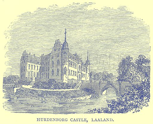 Hurdenborg Castle, Laaland. Illustration from Illustrated Travels edited by H W Bates (Cassell, c 1880).