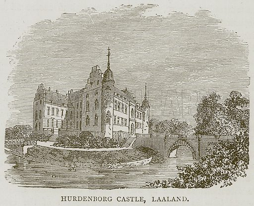 Hurdenborg Castle, Laaland. Illustration from Illustrated Travels edited by HW Bates (Cassell, c 1880).