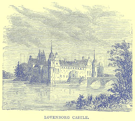 Lovenborg Castle. Illustration from Illustrated Travels edited by H W Bates (Cassell, c 1880).