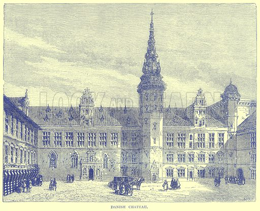 Danish Chateau. Illustration from Illustrated Travels edited by H W Bates (Cassell, c 1880).