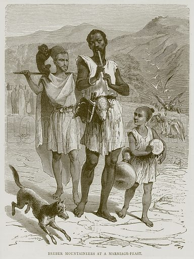 Breber Mountaineers at a Marriage-Feast. Illustration from Illustrated Travels edited by H W Bates (Cassell, c 1880).