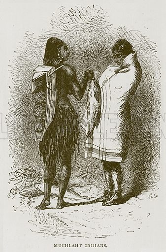 Muchlaht Indians. Illustration from Illustrated Travels edited by H W Bates (Cassell, c 1880).