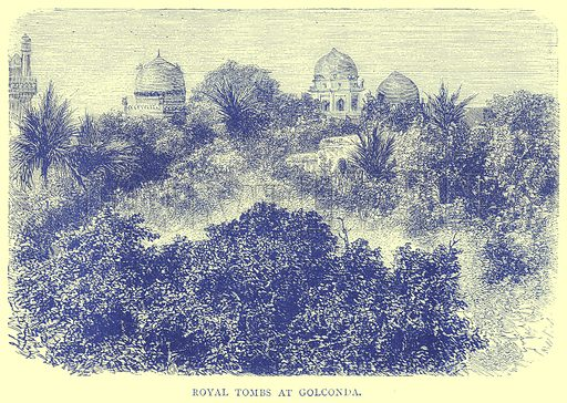 Royal Tombs at Golconda. Illustration from Illustrated Travels edited by H W Bates (Cassell, c 1880).