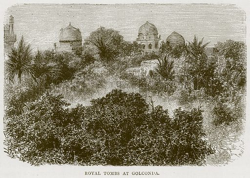 Royal Tombs at Golconda. Illustration from Illustrated Travels edited by HW Bates (Cassell, c 1880).