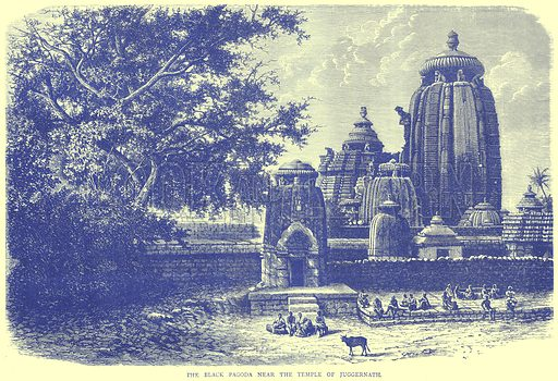 The Black Pagoda near the Temple of Juggernath. Illustration from Illustrated Travels edited by H W Bates (Cassell, c 1880).