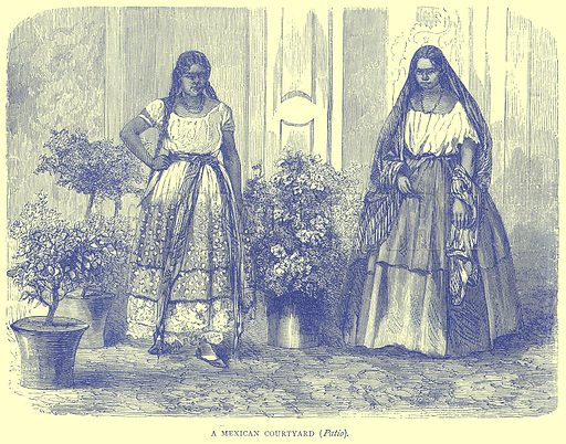 A Mexican Courtyard (Patio). Illustration from Illustrated Travels edited by H W Bates (Cassell, c 1880).