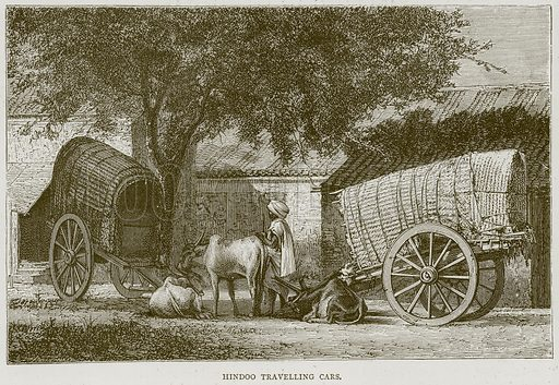 Hindoo Travelling Cars. Illustration from Illustrated Travels edited by H W Bates (Cassell, c 1880).