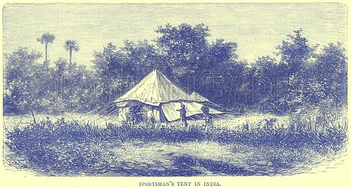 Sportsman's Tent in India. Illustration from Illustrated Travels edited by H W Bates (Cassell, c 1880).