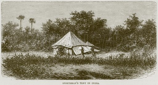Sportsman's Tent in India. Illustration from Illustrated Travels edited by HW Bates (Cassell, c 1880).