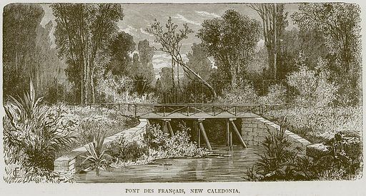 Pont Des Francais, New Caledonia. Illustration from Illustrated Travels edited by HW Bates (Cassell, c 1880).
