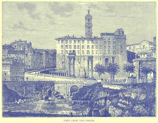 View from the Forum. Illustration from Illustrated Travels edited by H W Bates (Cassell, c 1880).