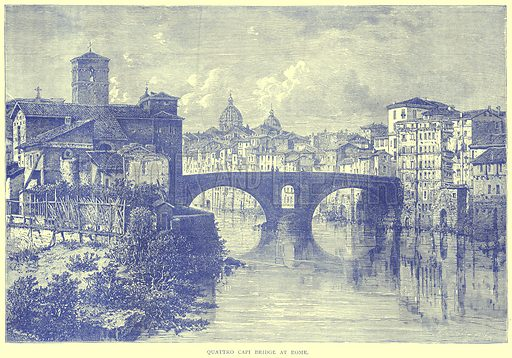 Quattro Capi Bridge at Rome. Illustration from Illustrated Travels edited by H W Bates (Cassell, c 1880).