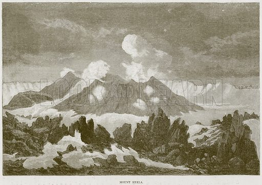 Mount Hekla. Illustration from Illustrated Travels edited by HW Bates (Cassell, c 1880).