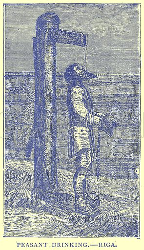 Peasant Drinking.--Riga. Illustration from Illustrated Travels edited by H W Bates (Cassell, c 1880).