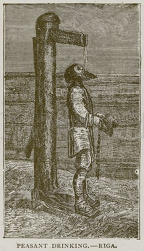 Peasant Drinking. – Riga. Illustration from Illustrated Travels edited by HW Bates (Cassell, c 1880).