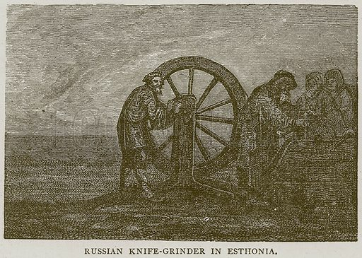 Russian Knife-Grinder in Esthonia. Illustration from Illustrated Travels edited by H W Bates (Cassell, c 1880).