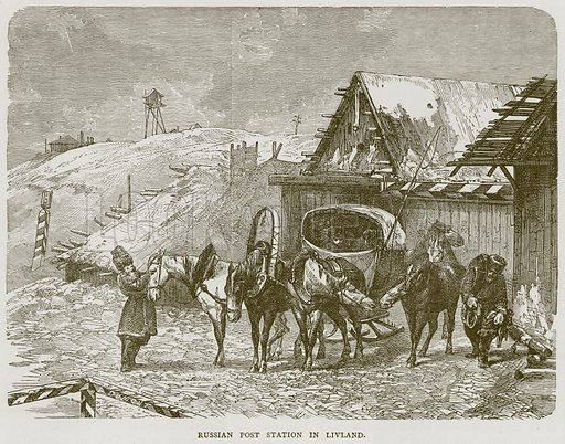 Russian Post Station in Livland. Illustration from Illustrated Travels edited by HW Bates (Cassell, c 1880).