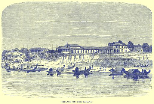 Village on the Parana. Illustration from Illustrated Travels edited by H W Bates (Cassell, c 1880).