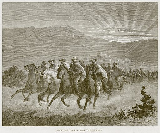 Starting to Re-Cross the Pampas. Illustration from Illustrated Travels edited by H W Bates (Cassell, c 1880).