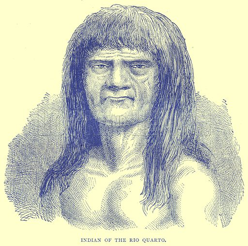 Indian of the Rio Quarto. Illustration from Illustrated Travels edited by H W Bates (Cassell, c 1880).
