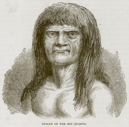 Indian of the Rio Quarto. Illustration from Illustrated Travels edited by HW Bates (Cassell, c 1880).