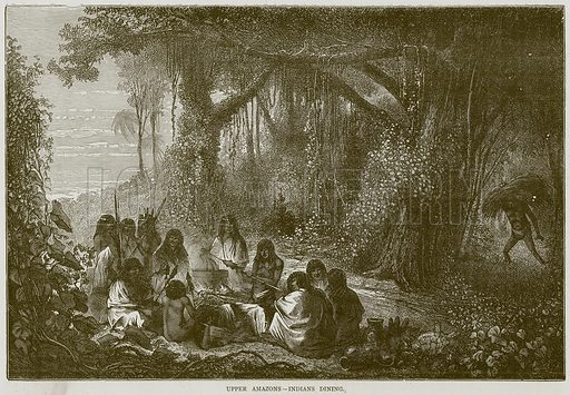 Upper Amazons--Indians Dining. Illustration from Illustrated Travels edited by H W Bates (Cassell, c 1880).