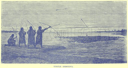 Turtle Shooting. Illustration from Illustrated Travels edited by H W Bates (Cassell, c 1880).