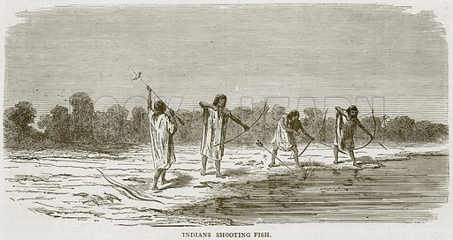 Indians Shooting Fish. Illustration from Illustrated Travels edited by H W Bates (Cassell, c 1880).