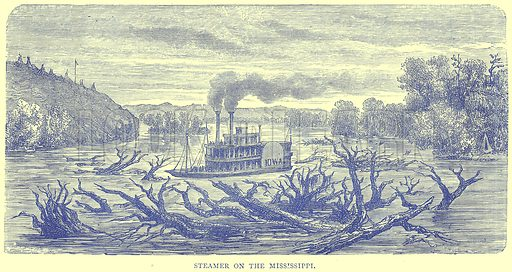 Steamer on the Mississippi. Illustration from Illustrated Travels edited by H W Bates (Cassell, c 1880).