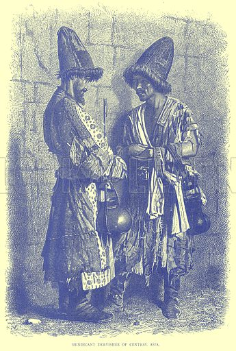 Mendicant Dervishes of Central Asia. Illustration from Illustrated Travels edited by H W Bates (Cassell, c 1880).