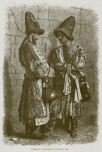 Mendicant Dervishes of Central Asia. Illustration from Illustrated Travels edited by HW Bates (Cassell, c 1880).