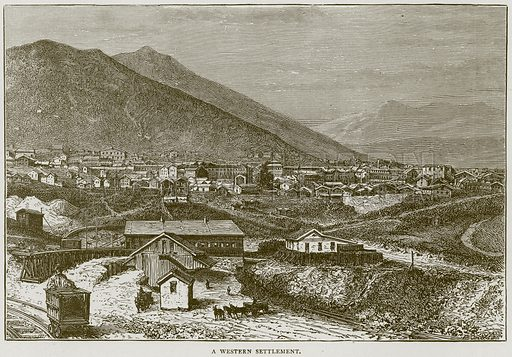 A Western Settlement. Illustration from Illustrated Travels edited by HW Bates (Cassell, c 1880).