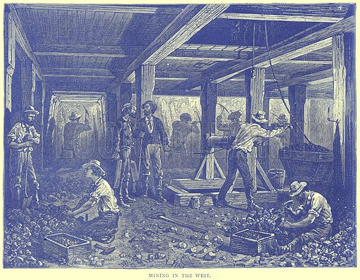 Mining in the West. Illustration from Illustrated Travels edited by H W Bates (Cassell, c 1880).