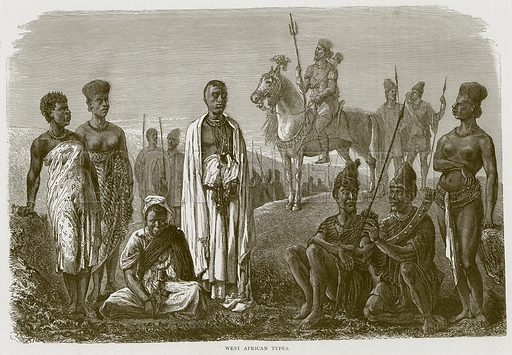West African Types. Illustration from Illustrated Travels edited by HW Bates (Cassell, c 1880).