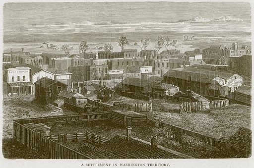 A Settlement in Washington Territory. Illustration from Illustrated Travels edited by H W Bates (Cassell, c 1880).