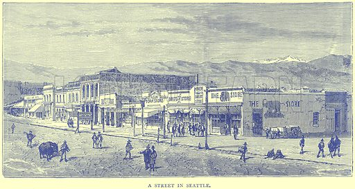 A street in Seattle. Illustration from Illustrated Travels edited by H W Bates (Cassell, c 1880).