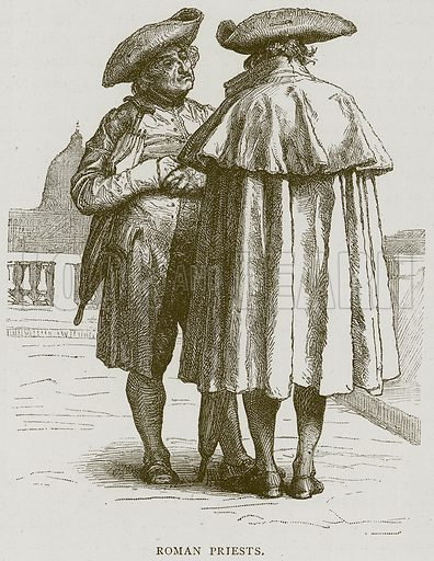 Roman Priests. Illustration from Illustrated Travels edited by H W Bates (Cassell, c 1880).