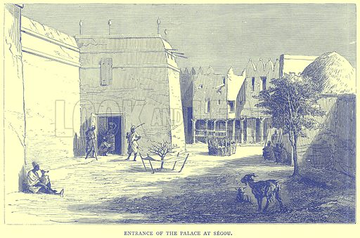Entrance of the Palace at Segou. Illustration from Illustrated Travels edited by H W Bates (Cassell, c 1880).