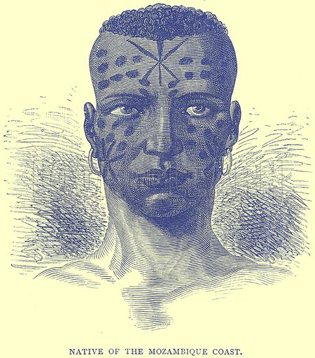 Native of the Mozambique Coast. Illustration from Illustrated Travels edited by H W Bates (Cassell, c 1880).