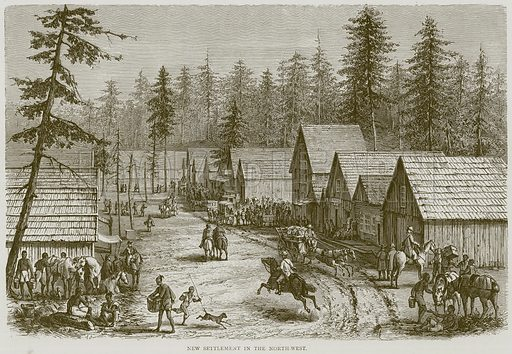 New Settlement in the North-West. Illustration from Illustrated Travels edited by HW Bates (Cassell, c 1880).