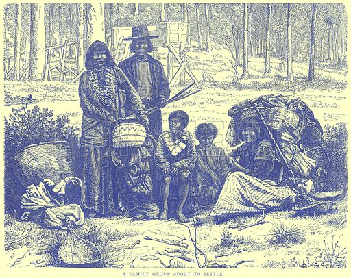 A Family Group about to Settle. Illustration from Illustrated Travels edited by H W Bates (Cassell, c 1880).