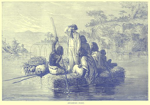 Abyssinian Ferry. Illustration from Illustrated Travels edited by H W Bates (Cassell, c 1880).